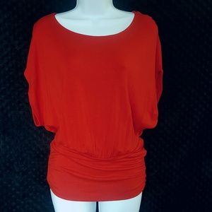 Express NWOT red wide waistband tshirt blouse top